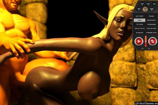 Anal sex busty black elf fucked in booty ass white monster