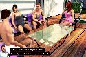 Gangbang sex party with young couple talking