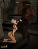 Sexy blonde sucks 3D monster cock